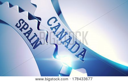 Canada Spain on the Mechanism of Metallic Cogwheels with Glow Effect and Lens Flare - Interaction Concept. Message Canada Spain on the Metal Cogwheels - Interaction Concept. 3D .