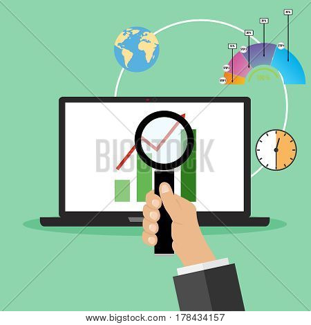 A hand with a magnifying glass is looking at a graph on a laptop. Flat design vector illustration vector.