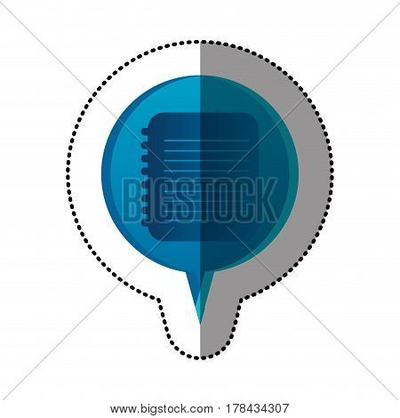 color sticker with spiral notebook icon in circular speech vector illustration