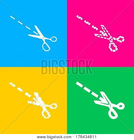 Scissors sign illustration. Four styles of icon on four color squares.