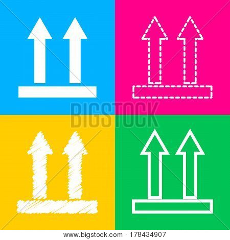 Logistic sign of arrows. Four styles of icon on four color squares.