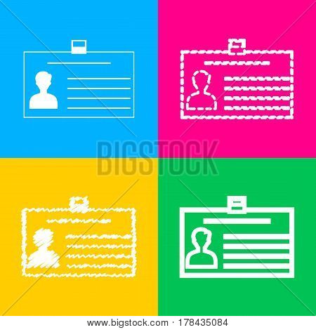 Identification card sign. Four styles of icon on four color squares.