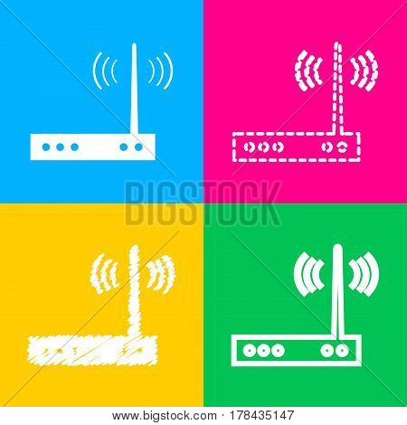 Wifi modem sign. Four styles of icon on four color squares.