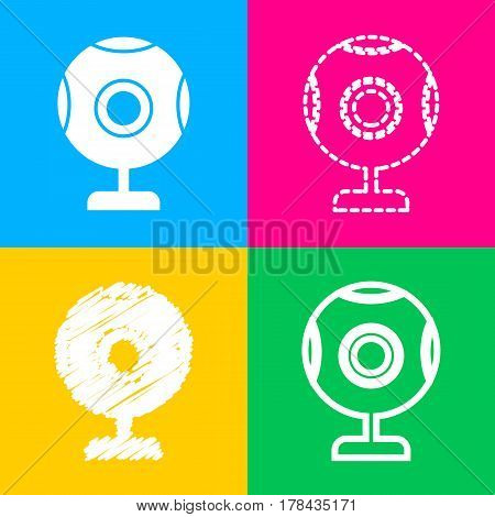Chat web camera sign. Four styles of icon on four color squares.