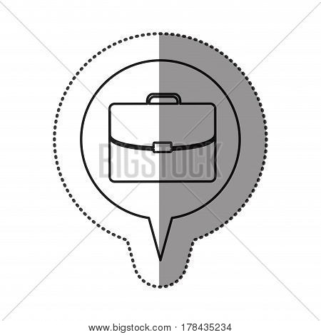 monochrome contour sticker with executive suitcase icon in circular speech vector illustration