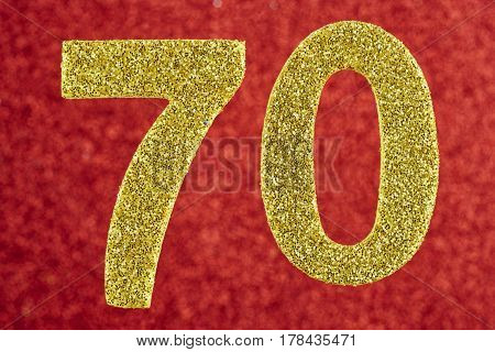 Number seventy yellow color over a red background. Anniversary. Horizontal