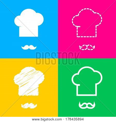 Chef hat and moustache sign. Four styles of icon on four color squares.