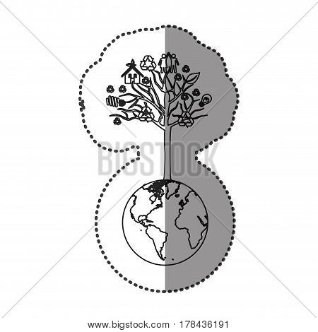 monochrome sticker of world with tree with icons of ecology and recycling vector illustration