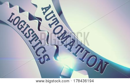 Metallic Cogwheels with Automation Logistics Inscription. Automation Logistics on Mechanism of Metallic Cogwheels with Lens Effect - Business Concept. 3D Illustration .