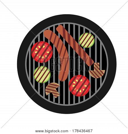 BBQ illustration with top view of brazier and sausages and vegetables.