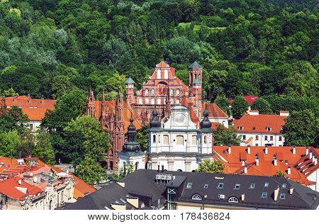 Historical UNESCO heritage old town of Vilnius capital of Lithuania