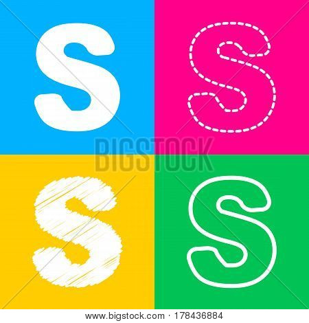 Letter S sign design template element. Four styles of icon on four color squares.