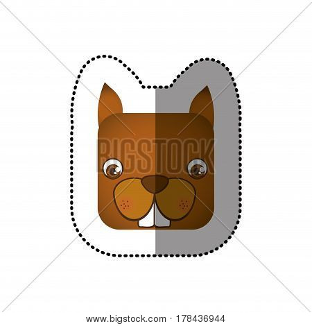 colorful face sticker of squirrel in square shape vector illustration