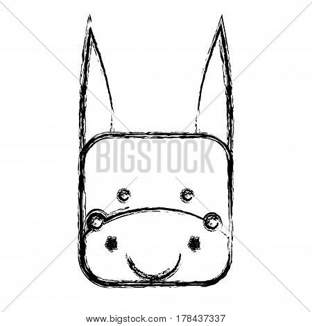 monochrome sketch with face of donkey in square shape vector illustration