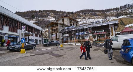 Pejo Fonti, Italy - March 6, 2017: Tourists In The Center Of The