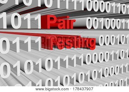 Pair testing in the form of binary code, 3D illustration