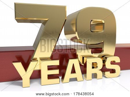 Golden digit seventy nine and the word of the year. 3D illustration