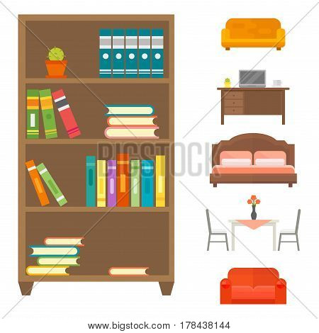 Exceptional Furniture Home Decor Icon Set Indoor Cabinet Interior Room Library Office  Bookshelf Modern Restroom Silhouette Decoration