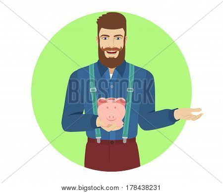Hipster holding a piggy bank and gesturing. Portrait of hipster in a flat style. Vector illustration.