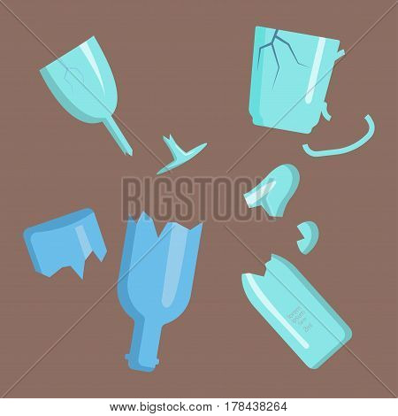 Recycling garbage elements trash broken glass management industry utilize concept and waste ecology can bottle recycling disposal box vector illustration. Eco pollution refuse service plastic.