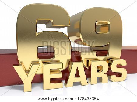 Golden digit sixty nine and the word of the year. 3D illustration