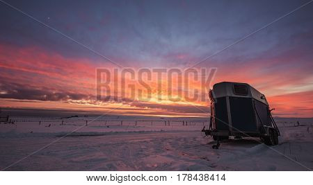 Countryside landscaped, sunrise at farmland in winter
