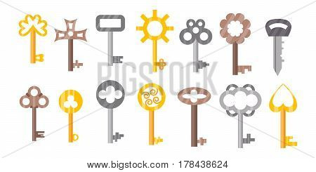 Vintage or antique door key isolated access household tool retro metal security house protection and decorative skeleton ornate secret sign vector illustration. Medieval flat gold icon.