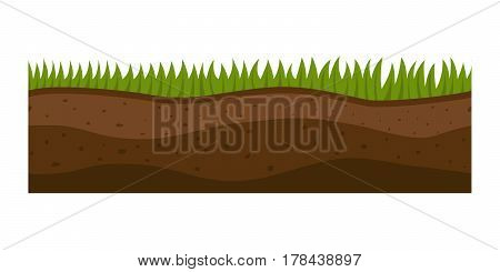 Cross section ground slice isolated some piece nature outdoor ecology underground and freestanding render garden natural geologist earth vector illustration. Ecology agriculture crosssection.