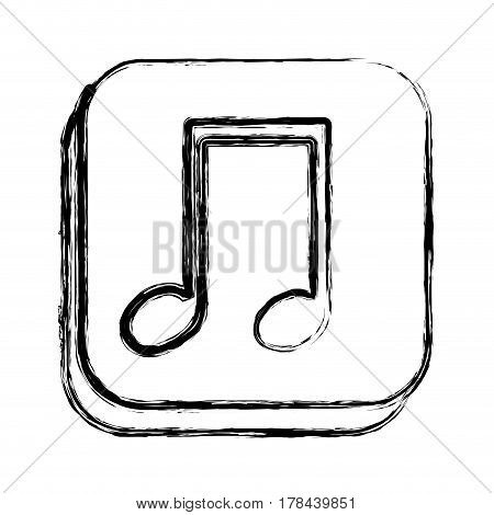 monochrome sketch of square button with musical note vector illustration