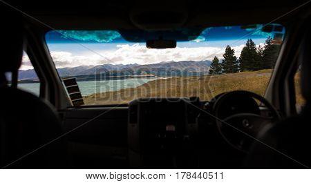 Looking through the window of a camper van, New Zealand