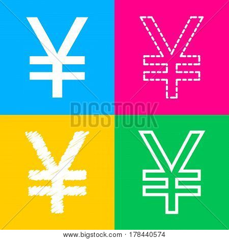 Yen sign. Four styles of icon on four color squares.