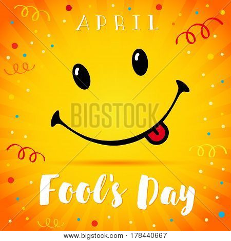 April Fools Day text and vector illustration of a smiling face. 1 April Fool's Day smile