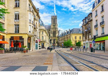 Architecture of Reims a city in the Champagne-Ardenne region of France.
