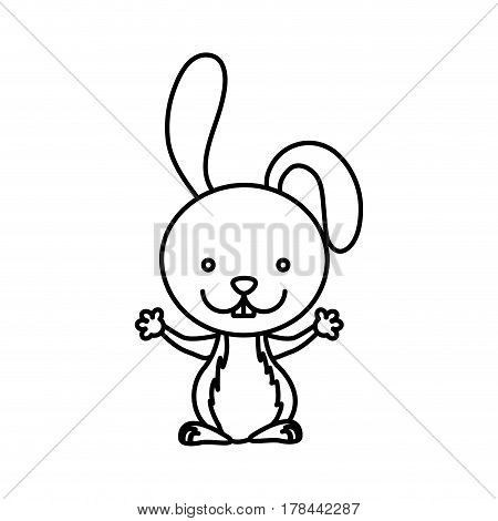 silhouette picture cute rabbit animal vector illustration