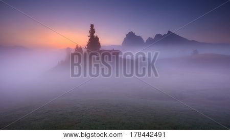 Foggy landscape view in Alpe di Siusi or Seiser Alm at idyllic dawn. Long exposure photo - Dolomites mountain range Italy.