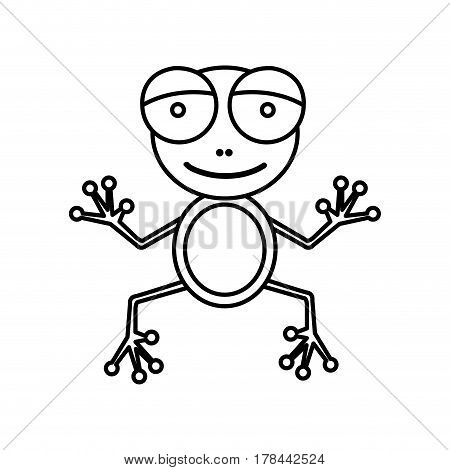 sketch silhouette cartoon cute toad amphibian vector illustration