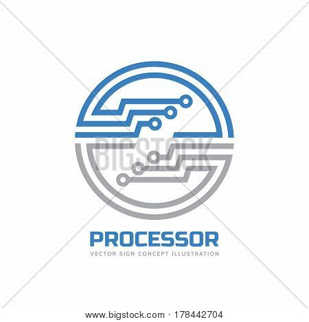 Processor CPU - vector logo template for corporate identity. Abstract computer chip sign. Network, internet technology concept illustration. Design element.