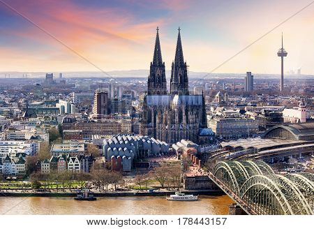 Aerial view of a Cologne in Germany
