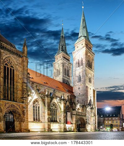 St. Lawrence church at night in Nuremberg Germany