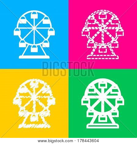 Ferris wheel sign. Four styles of icon on four color squares.