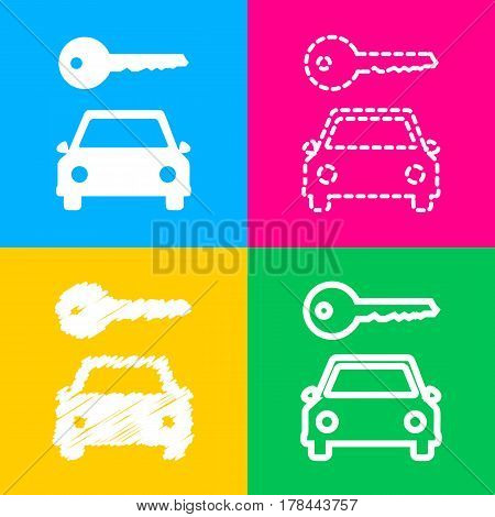 Car key simplistic sign. Four styles of icon on four color squares.
