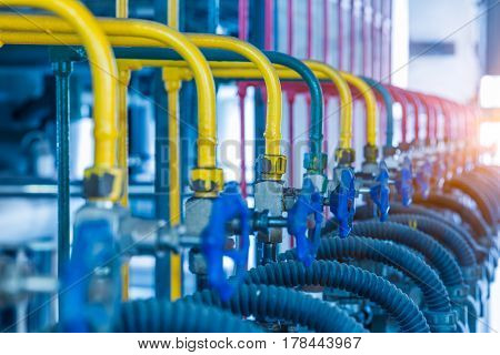 steel pipelines and cables in a plantIndustrial zone.