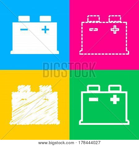 Car battery sign. Four styles of icon on four color squares.