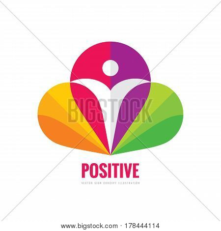 Positive - vector logo template concept illustration. Abstract human character silhouette in petals of flower sign. Vibrant color symbol. Design element.
