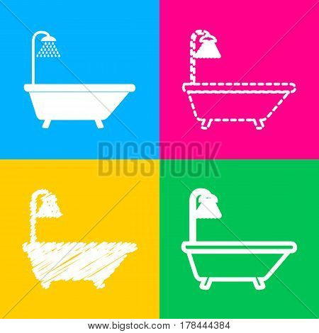 Bathtub sign. Four styles of icon on four color squares.