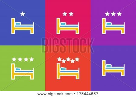 Vector set of icons or illustrations showing hotel or hostel with bed in outline style