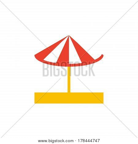 Vector icon or illustration showing beach with red white umbrella on the sand in material design style