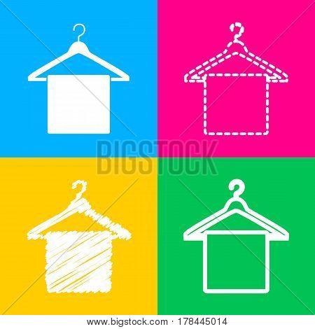 Towel On Hanger sign. Four styles of icon on four color squares.