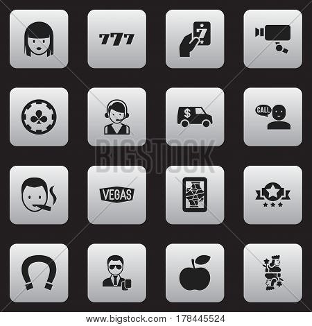 Set Of 16 Editable Excitement Icons. Includes Symbols Such As Apple, Blackjack, Agent And More. Can Be Used For Web, Mobile, UI And Infographic Design.
