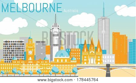 Melbourne city flat vector illustration. Vector landscape on Yarra river bank. Day view with Flinders street station, St Paul's Cathedral, Princes Bridge. Travel picture. Poster ad design. Post card template.
